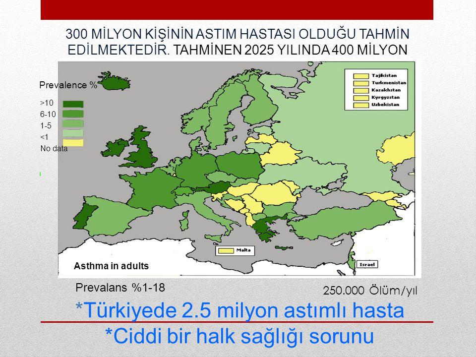 *Türkiyede 2.5 milyon astımlı hasta *Ciddi bir halk sağlığı sorunu 300 MİLYON KİŞİNİN ASTIM HASTASI OLDUĞU TAHMİN EDİLMEKTEDİR.