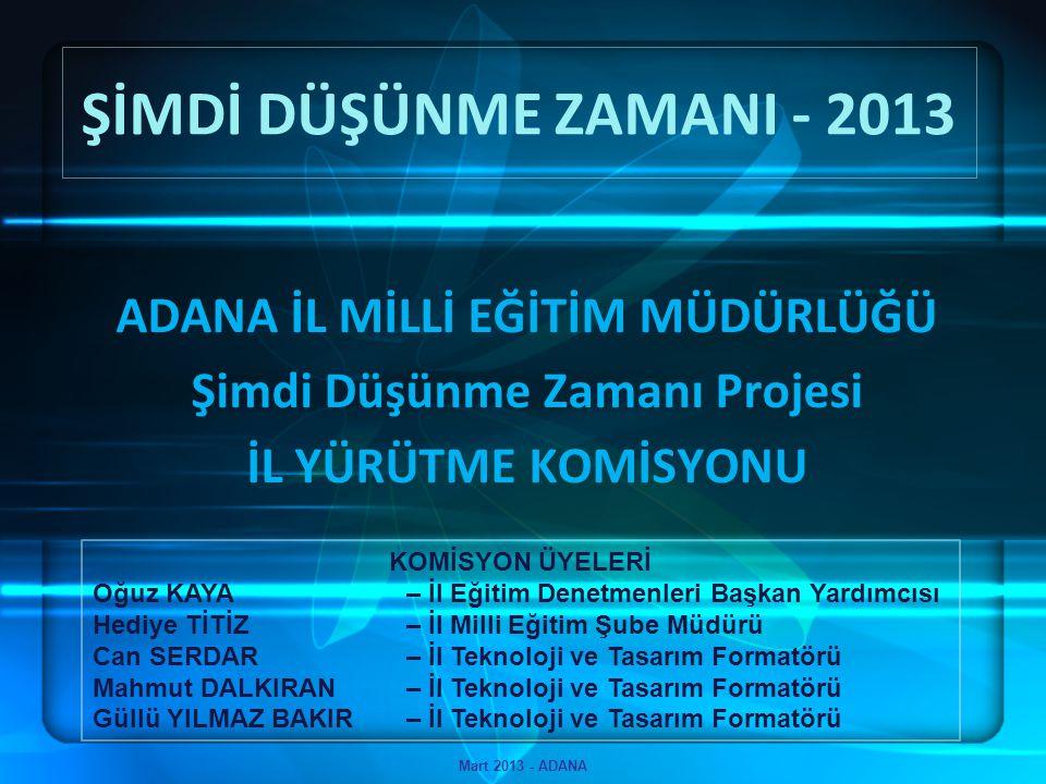 Şimdi Düşünme Zamanı 2013 - Adana Mart 2013 - ADANA Olması gereken öğrenci çalışması sayısının %10'u ile Adana, TPE Teknoloji ve Tasarım Portalında tüm iller arasında 1.