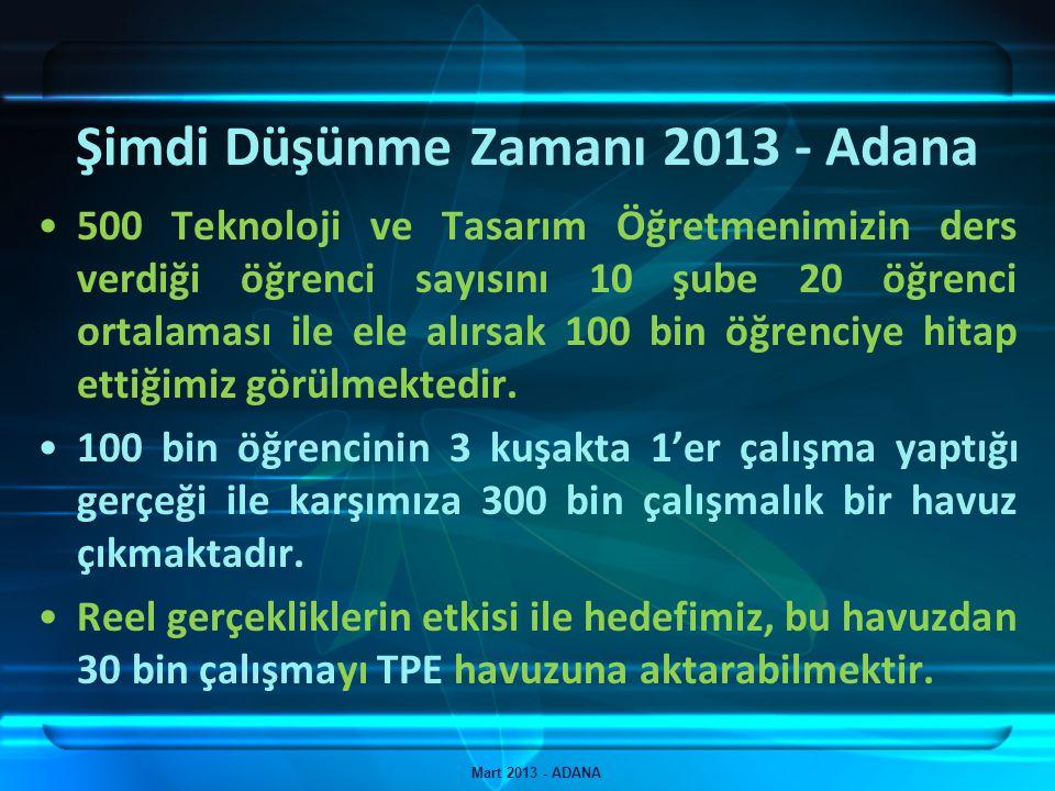 Şimdi Düşünme Zamanı 2013 - Adana Mart 2013 - ADANA 500 Teknoloji ve Tasarım Öğretmenimizin ders verdiği öğrenci sayısını 10 şube 20 öğrenci ortalamas
