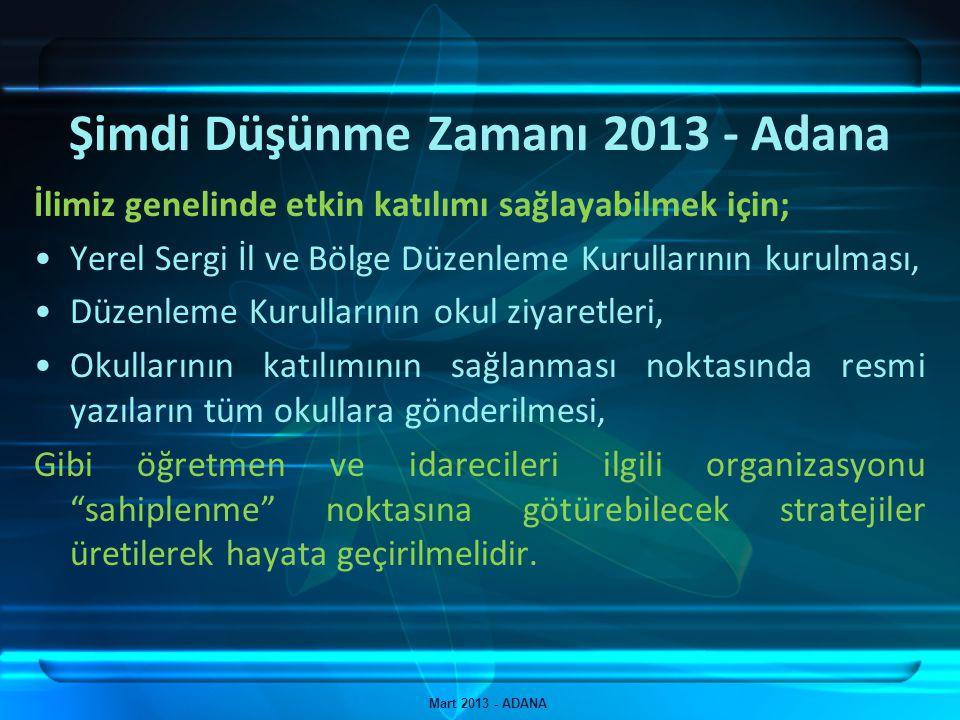 Şimdi Düşünme Zamanı 2013 - Adana Mart 2013 - ADANA İlimiz genelinde etkin katılımı sağlayabilmek için; Yerel Sergi İl ve Bölge Düzenleme Kurullarının