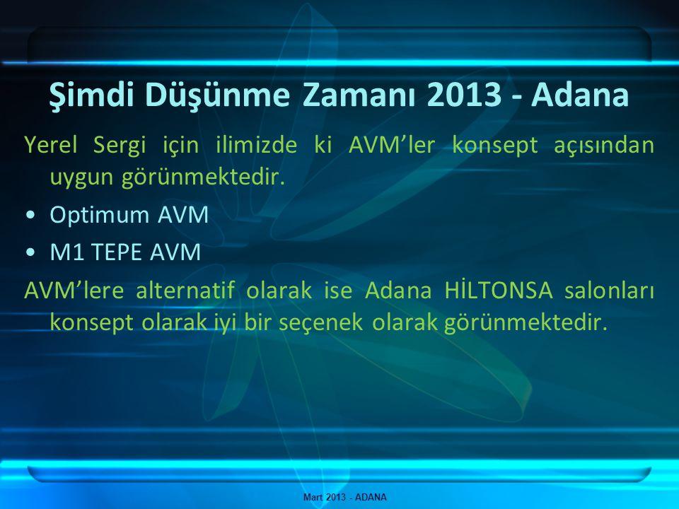 Şimdi Düşünme Zamanı 2013 - Adana Mart 2013 - ADANA Yerel Sergi için ilimizde ki AVM'ler konsept açısından uygun görünmektedir. Optimum AVM M1 TEPE AV
