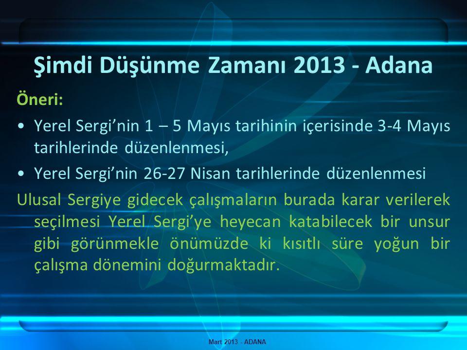 Şimdi Düşünme Zamanı 2013 - Adana Mart 2013 - ADANA Öneri: Yerel Sergi'nin 1 – 5 Mayıs tarihinin içerisinde 3-4 Mayıs tarihlerinde düzenlenmesi, Yerel