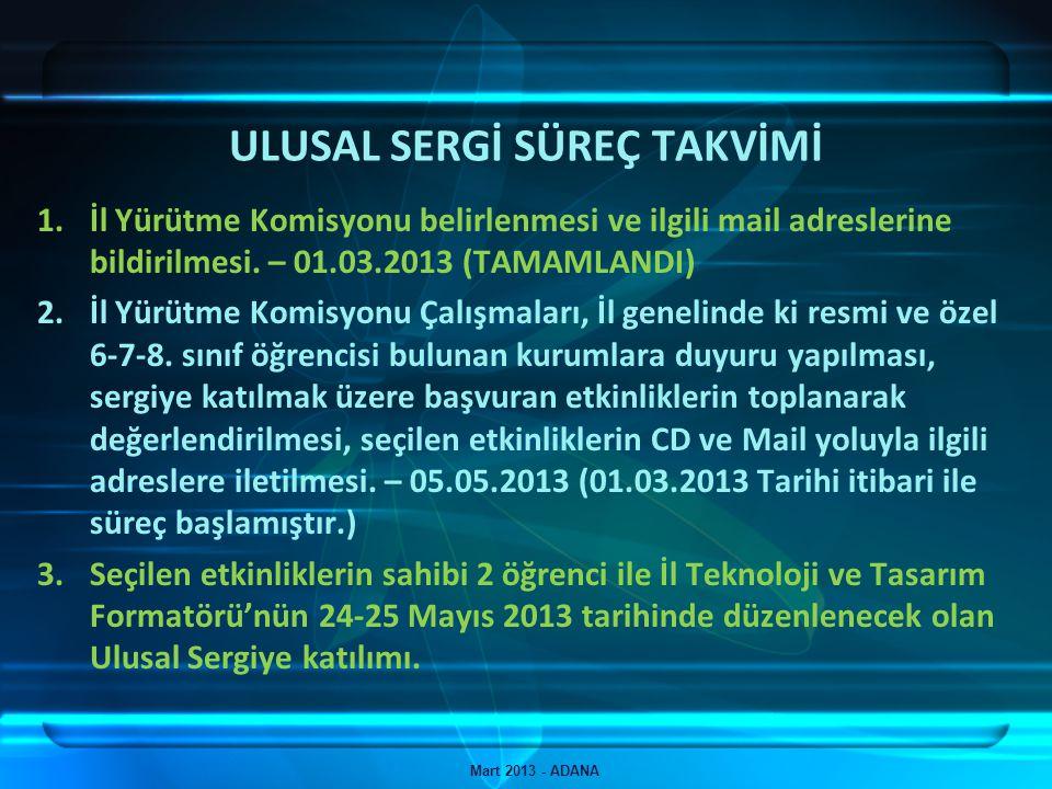 ULUSAL SERGİ SÜREÇ TAKVİMİ Mart 2013 - ADANA 1.İl Yürütme Komisyonu belirlenmesi ve ilgili mail adreslerine bildirilmesi. – 01.03.2013 (TAMAMLANDI) 2.