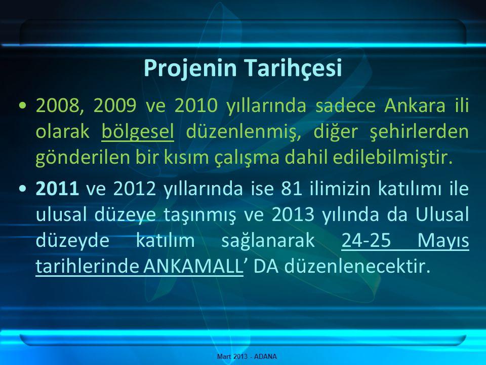 Projenin Yerel Tarihçesi Mart 2013 - ADANA İlimizden, 2011 yılında 200 Öğrenci çalışması başvuru yapmış, 2012 yılında ise bu başvuru sayısı 163'e düşmüştür.