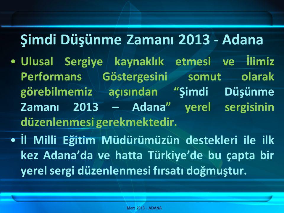 Şimdi Düşünme Zamanı 2013 - Adana Mart 2013 - ADANA İlimizde resmi okullarda görevli 487 Teknoloji ve Tasarım Öğretmeni bulunmaktadır.