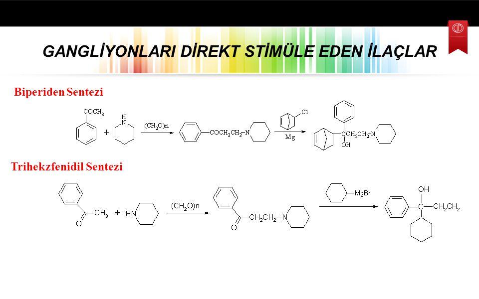 PARASEMPATOMİMETİK İLAÇLAR Trihekzifenidil 1-Siklohekzil-1-fenil-3-piperidil-1-propanol Biperiden α-Bisiklo[2.2.1]hept-5-en-2-il-α-fenil-1-piperidinil