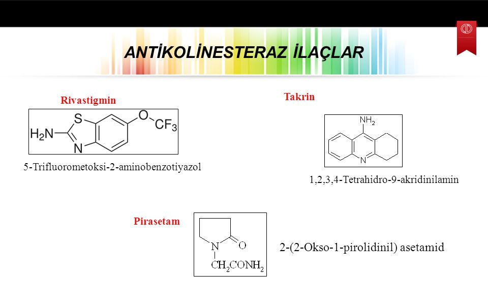 Takrin ANTİKOLİNESTERAZ İLAÇLAR Riluzol 1,2,3,4-Tetrahidro-9-akridinilamin 5-Trifluorometoksi-2-aminobenzotiyazol Pirasetam 2-(2-Okso-1-pirolidinil) a