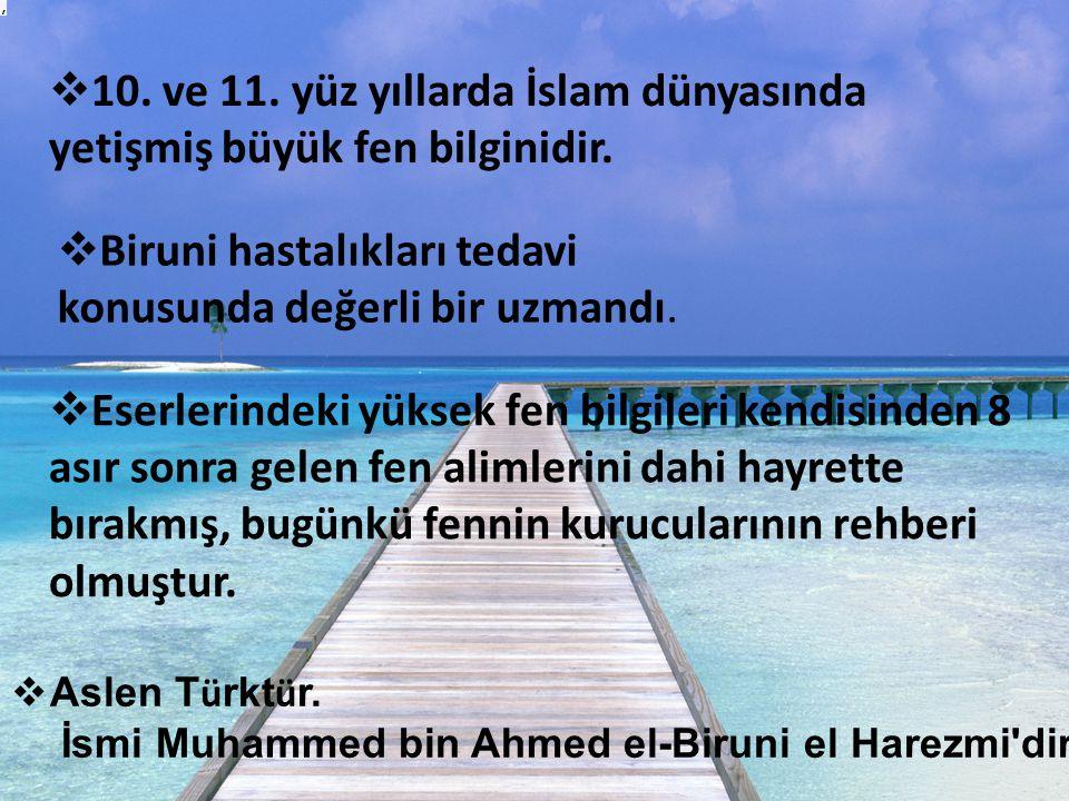  Biruni hastalıkları tedavi konusunda değerli bir uzmandı.  10. ve 11. yüz yıllarda İslam dünyasında yetişmiş büyük fen bilginidir.  Eserlerindeki
