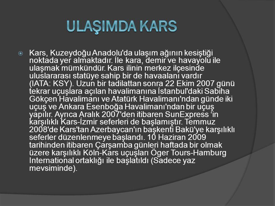  Kars, Kuzeydoğu Anadolu'da ulaşım ağının kesiştiği noktada yer almaktadır. İle kara, demir ve havayolu ile ulaşmak mümkündür. Kars ilinin merkez ilç