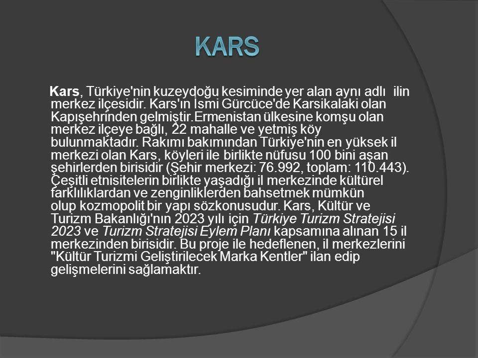 Kars, Türkiye'nin kuzeydoğu kesiminde yer alan aynı adlı ilin merkez ilçesidir. Kars'ın İsmi Gürcüce'de Karsikalaki olan Kapışehrinden gelmiştir.Ermen