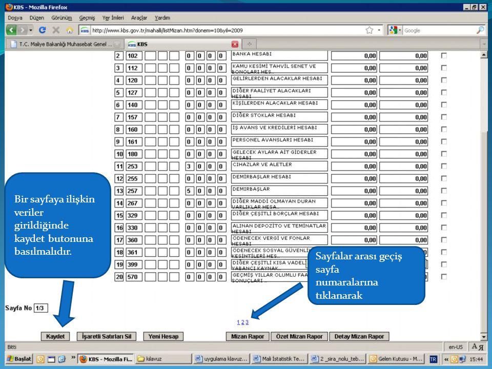 Bir sayfaya ilişkin veriler girildiğinde kaydet butonuna basılmalıdır. Sayfalar arası geçiş sayfa numaralarına tıklanarak