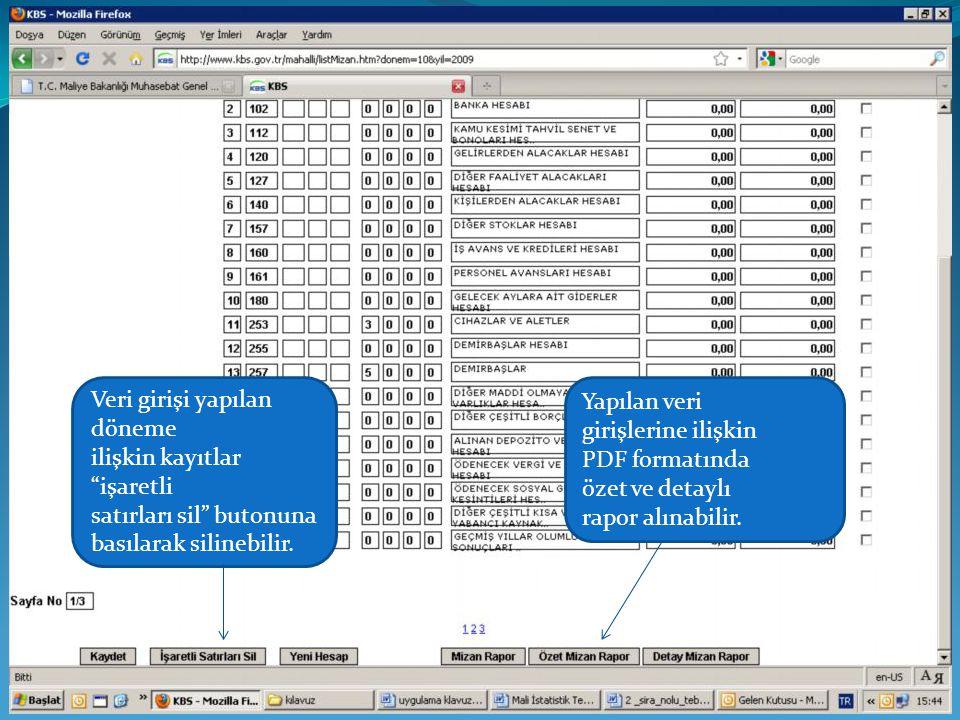 """Veri girişi yapılan döneme ilişkin kayıtlar """"işaretli satırları sil"""" butonuna basılarak silinebilir. Yapılan veri girişlerine ilişkin PDF formatında ö"""