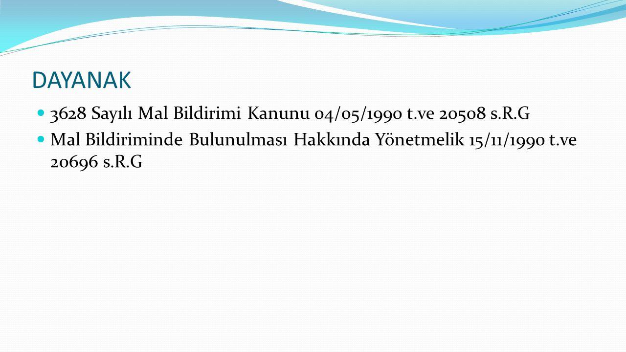 DAYANAK 3628 Sayılı Mal Bildirimi Kanunu 04/05/1990 t.ve 20508 s.R.G Mal Bildiriminde Bulunulması Hakkında Yönetmelik 15/11/1990 t.ve 20696 s.R.G