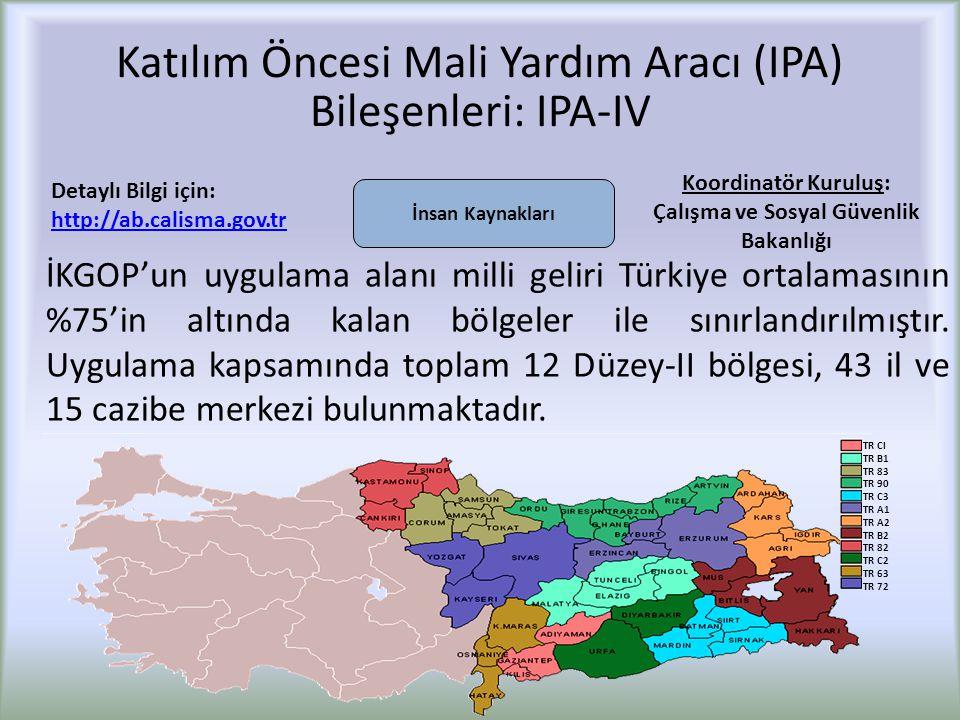 Katılım Öncesi Mali Yardım Aracı (IPA) Bileşenleri: IPA-IV İKGOP'un uygulama alanı milli geliri Türkiye ortalamasının %75'in altında kalan bölgeler ile sınırlandırılmıştır.