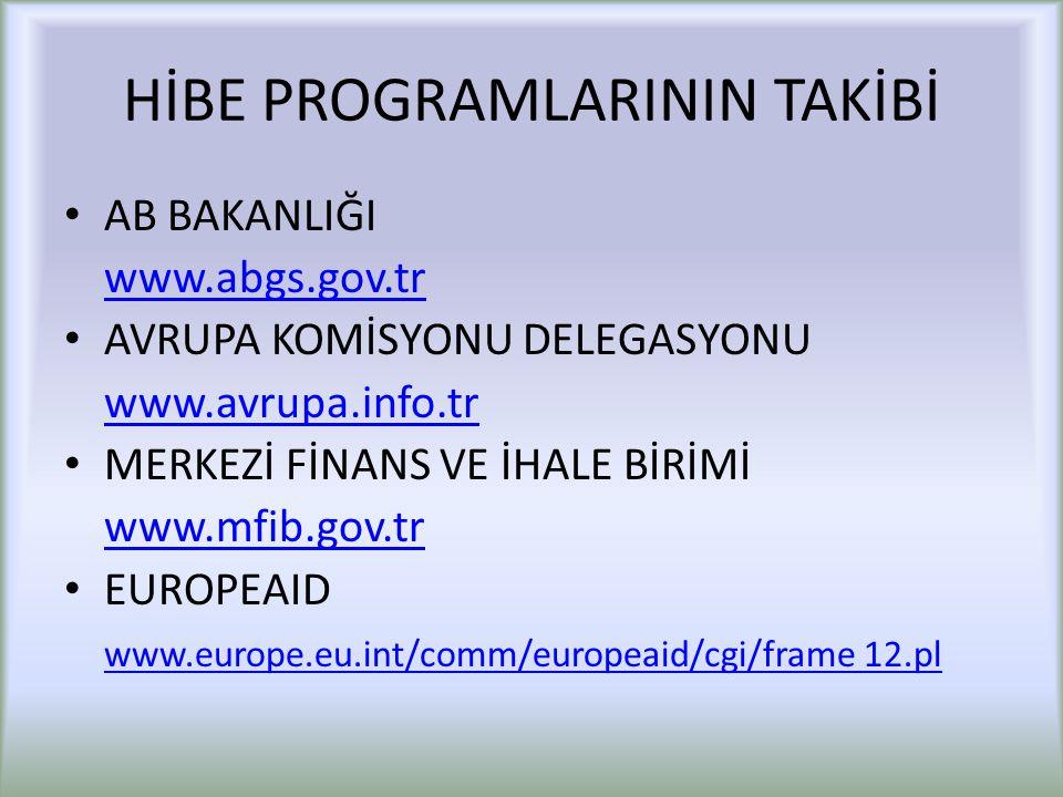 HİBE PROGRAMLARININ TAKİBİ AB BAKANLIĞI www.abgs.gov.tr AVRUPA KOMİSYONU DELEGASYONU www.avrupa.info.tr MERKEZİ FİNANS VE İHALE BİRİMİ www.mfib.gov.tr EUROPEAID www.europe.eu.int/comm/europeaid/cgi/frame 12.pl