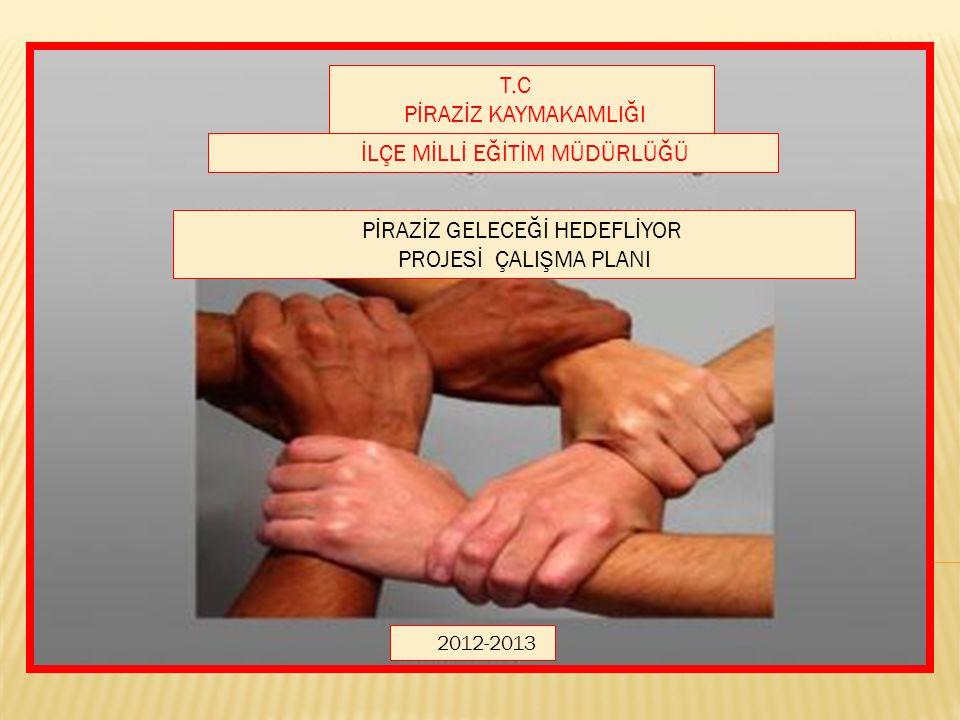 İLÇE MİLLİ EĞİTİM MÜDÜRLÜĞÜ 2012-2013 T.C PİRAZİZ KAYMAKAMLIĞI PİRAZİZ GELECEĞİ HEDEFLİYOR PROJESİ ÇALIŞMA PLANI