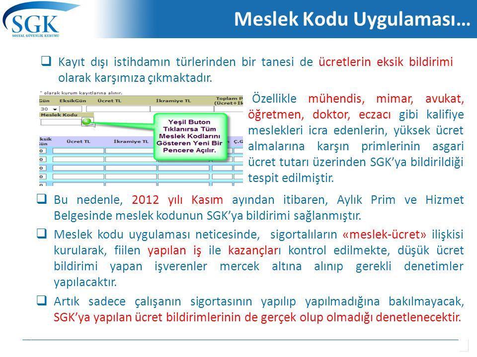  Bu nedenle, 2012 yılı Kasım ayından itibaren, Aylık Prim ve Hizmet Belgesinde meslek kodunun SGK'ya bildirimi sağlanmıştır.  Meslek kodu uygulaması