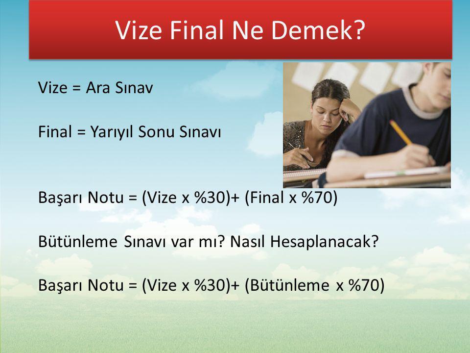Vize Final Ne Demek? Vize = Ara Sınav Final = Yarıyıl Sonu Sınavı Başarı Notu = (Vize x %30)+ (Final x %70) Bütünleme Sınavı var mı? Nasıl Hesaplanaca