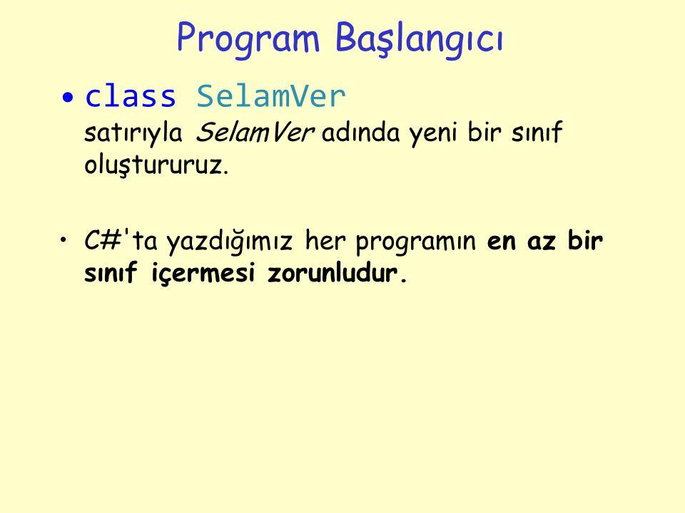 Program Başlangıcı class SelamVer satırıyla SelamVer adında yeni bir sınıf oluştururuz.