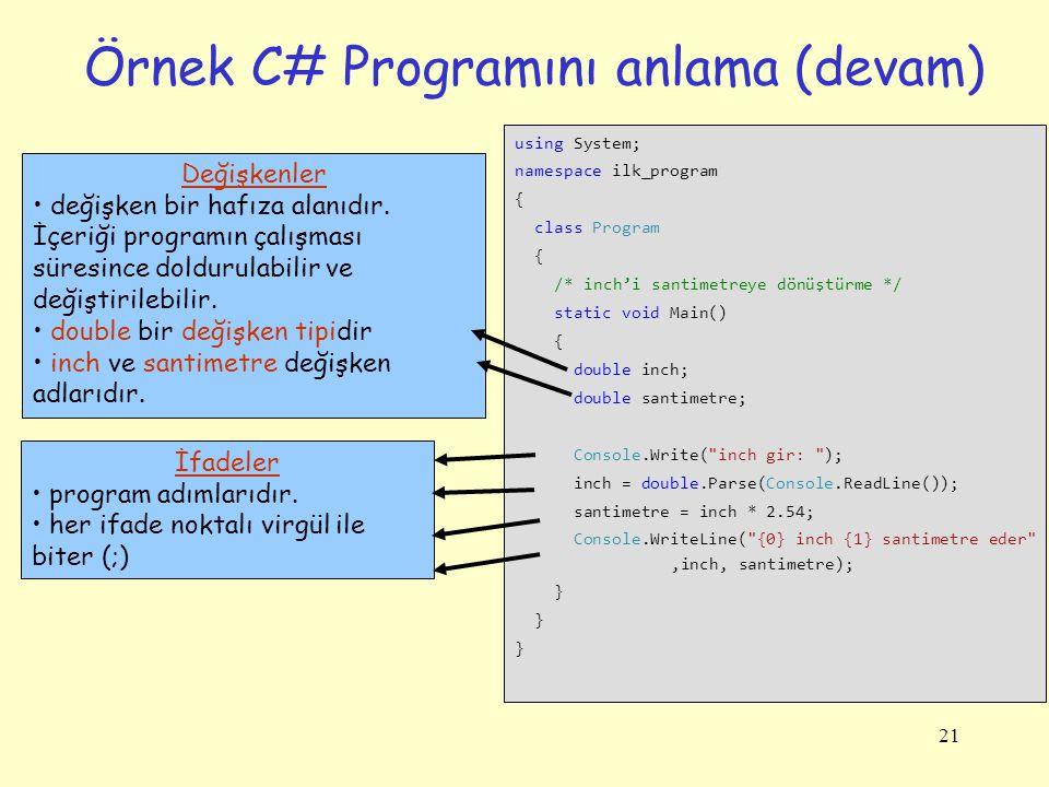 21 Örnek C# Programını anlama (devam) using System; namespace ilk_program { class Program { /* inch'i santimetreye dönüştürme */ static void Main() { double inch; double santimetre; Console.Write( inch gir: ); inch = double.Parse(Console.ReadLine()); santimetre = inch * 2.54; Console.WriteLine( {0} inch {1} santimetre eder ,inch, santimetre); } İfadeler program adımlarıdır.