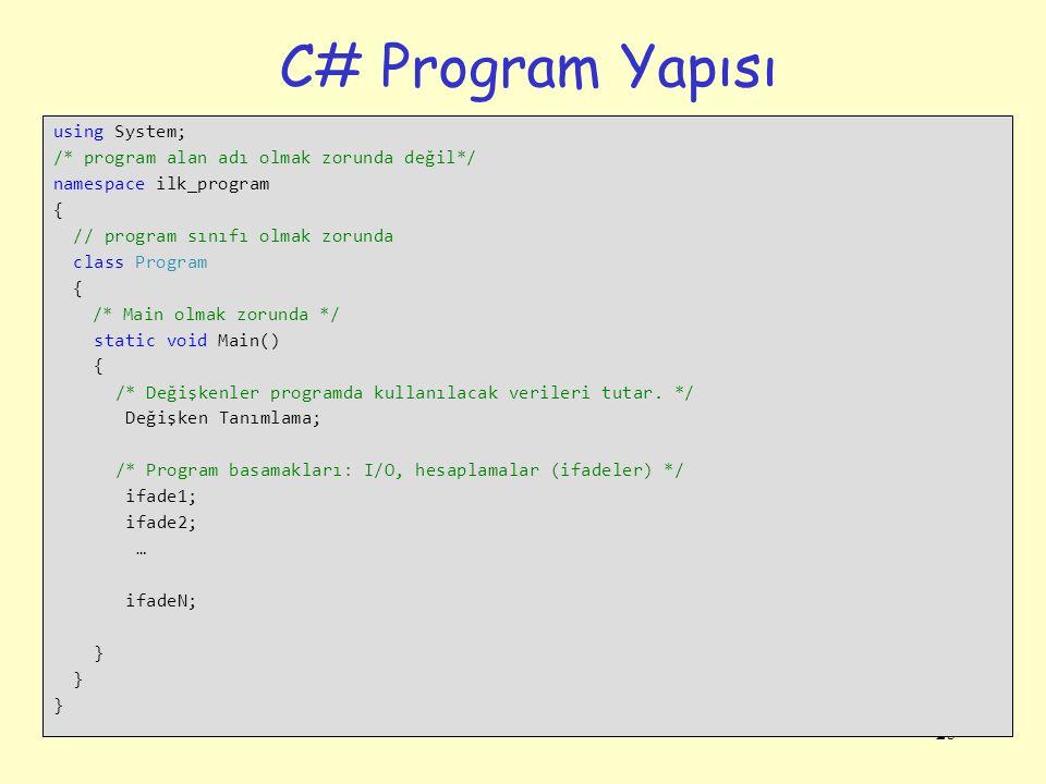 25 C# Program Yapısı using System; /* program alan adı olmak zorunda değil*/ namespace ilk_program { // program sınıfı olmak zorunda class Program { /* Main olmak zorunda */ static void Main() { /* Değişkenler programda kullanılacak verileri tutar.