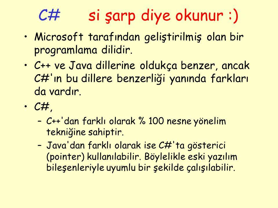 C# si şarp diye okunur :) Microsoft tarafından geliştirilmiş olan bir programlama dilidir.