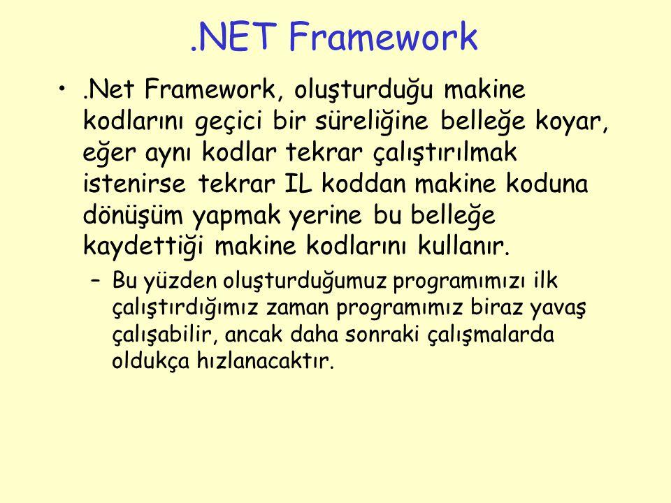 .NET Framework.Net Framework, oluşturduğu makine kodlarını geçici bir süreliğine belleğe koyar, eğer aynı kodlar tekrar çalıştırılmak istenirse tekrar IL koddan makine koduna dönüşüm yapmak yerine bu belleğe kaydettiği makine kodlarını kullanır.