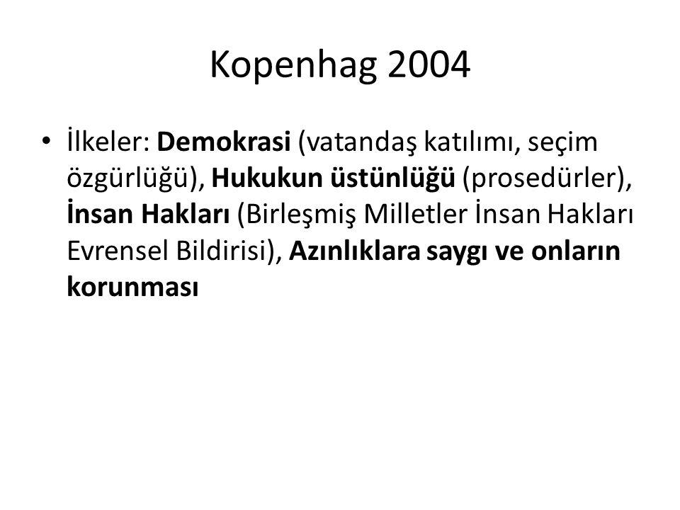Kopenhag 2004 İlkeler: Demokrasi (vatandaş katılımı, seçim özgürlüğü), Hukukun üstünlüğü (prosedürler), İnsan Hakları (Birleşmiş Milletler İnsan Hakla