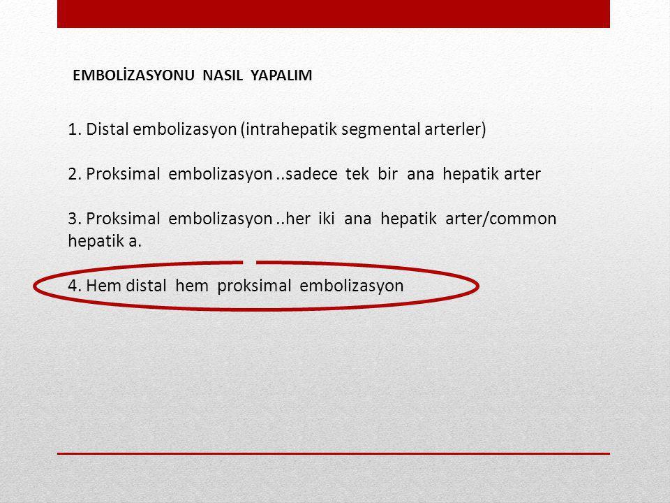 EMBOLİZASYONU NASIL YAPALIM 1. Distal embolizasyon (intrahepatik segmental arterler) 2. Proksimal embolizasyon..sadece tek bir ana hepatik arter 3. Pr
