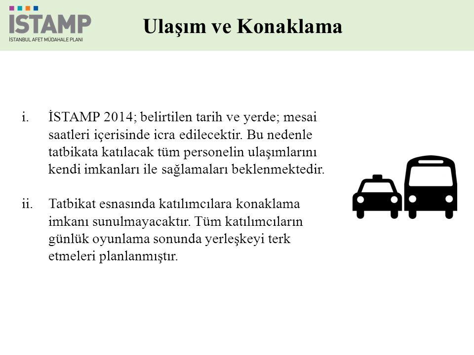 Ulaşım ve Konaklama i.İSTAMP 2014; belirtilen tarih ve yerde; mesai saatleri içerisinde icra edilecektir.