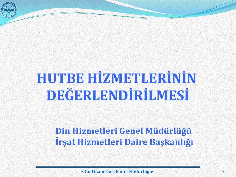 - Din Hizmetleri Genel Müdürlüğü- 1 HUTBE HİZMETLERİNİN DEĞERLENDİRİLMESİ Din Hizmetleri Genel Müdürlüğü İrşat Hizmetleri Daire Başkanlığı