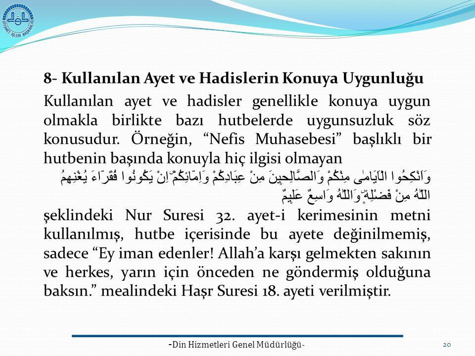 - Din Hizmetleri Genel Müdürlüğü- 20 8- Kullanılan Ayet ve Hadislerin Konuya Uygunluğu Kullanılan ayet ve hadisler genellikle konuya uygun olmakla bir