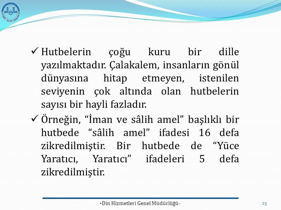 - Din Hizmetleri Genel Müdürlüğü- 25 Hutbelerin çoğu kuru bir dille yazılmaktadır. Çalakalem, insanların gönül dünyasına hitap etmeyen, istenilen sevi