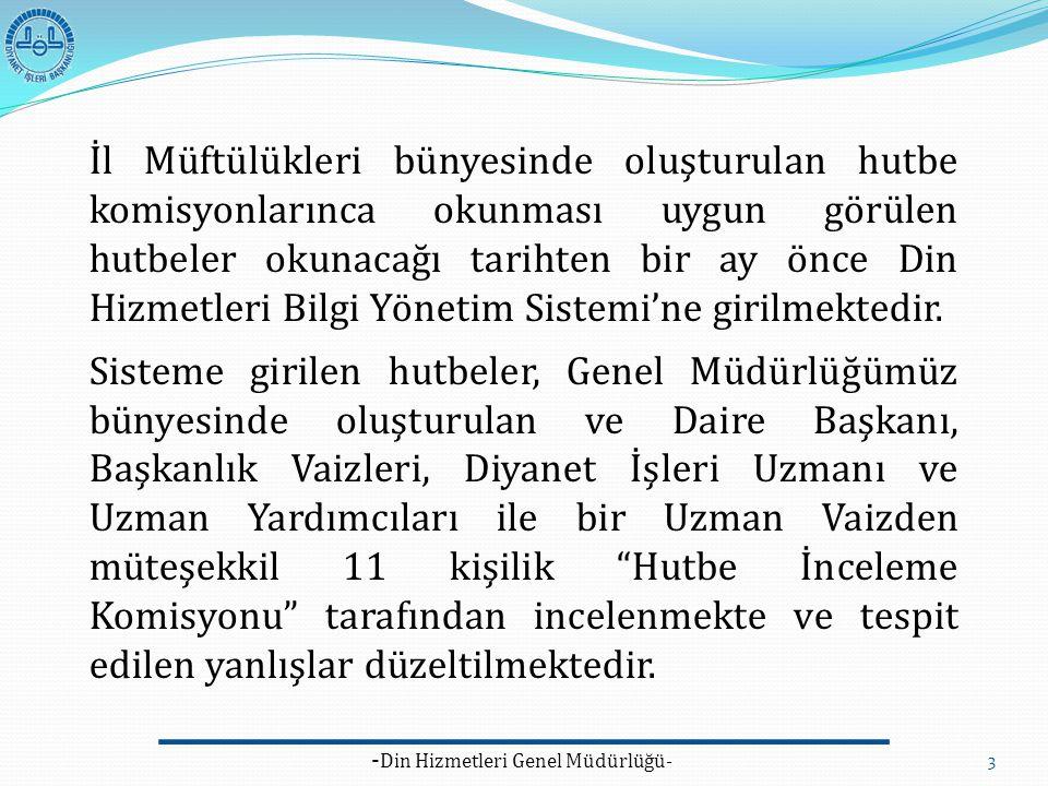 - Din Hizmetleri Genel Müdürlüğü- 3 İl Müftülükleri bünyesinde oluşturulan hutbe komisyonlarınca okunması uygun görülen hutbeler okunacağı tarihten bi