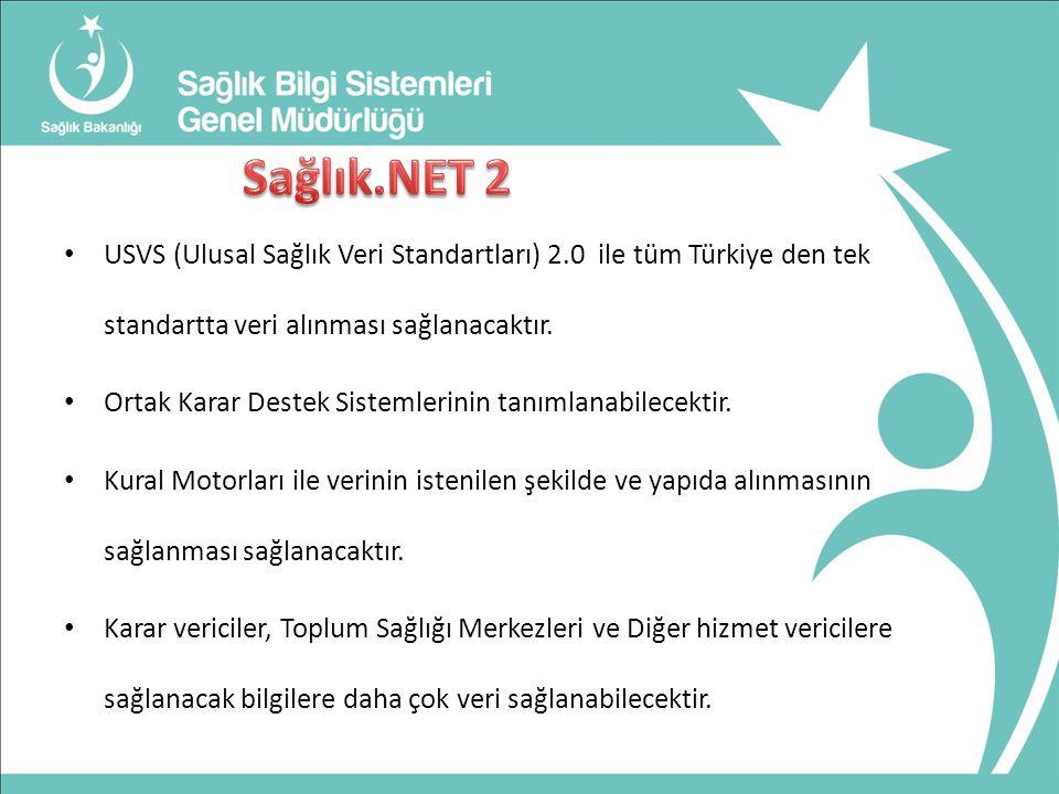 USVS (Ulusal Sağlık Veri Standartları) 2.0 ile tüm Türkiye den tek standartta veri alınması sağlanacaktır.