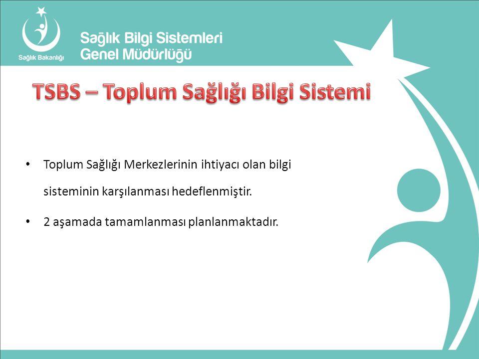 Toplum Sağlığı Merkezlerinin ihtiyacı olan bilgi sisteminin karşılanması hedeflenmiştir.