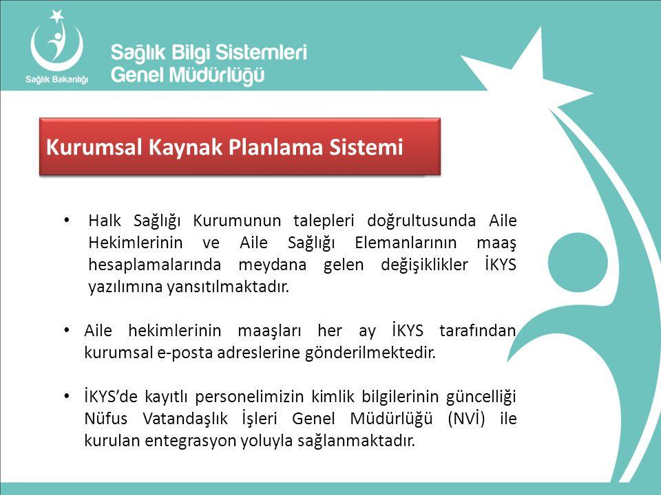 Çekirdek Kaynak Yönetim Sistemi (ÇKYS) Halk Sağlığı Kurumunun talepleri doğrultusunda Aile Hekimlerinin ve Aile Sağlığı Elemanlarının maaş hesaplamalarında meydana gelen değişiklikler İKYS yazılımına yansıtılmaktadır.
