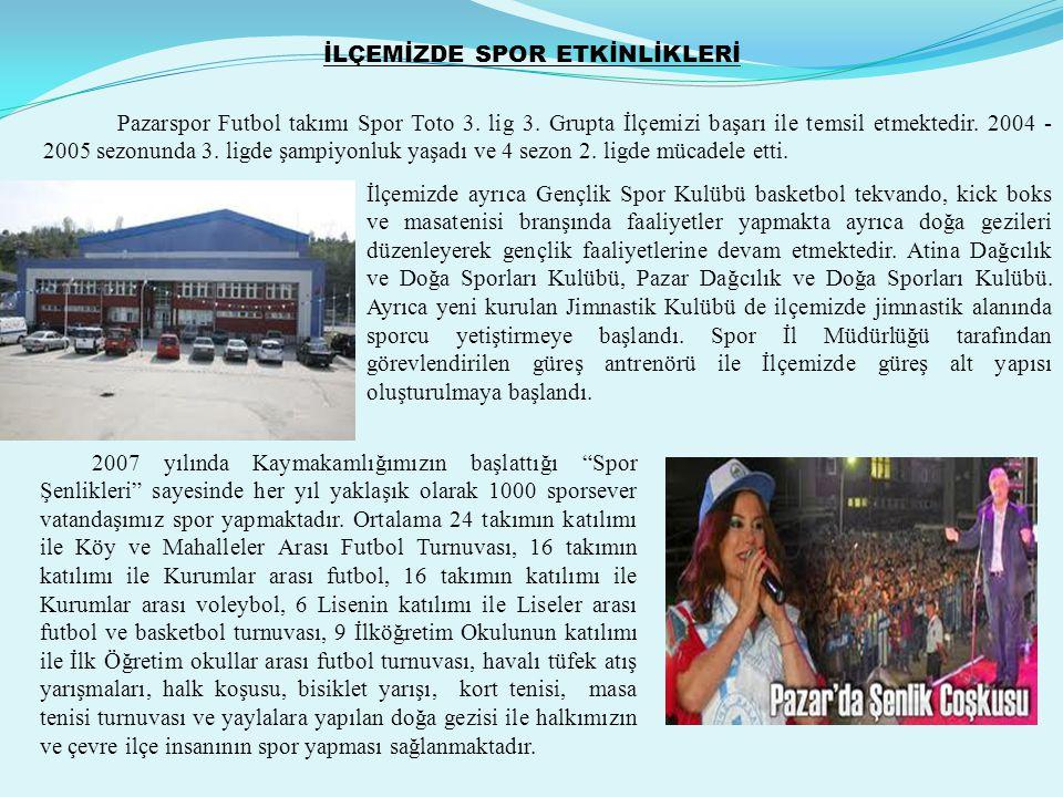 İLÇEMİZDE SPOR ETKİNLİKLERİ Pazarspor Futbol takımı Spor Toto 3.