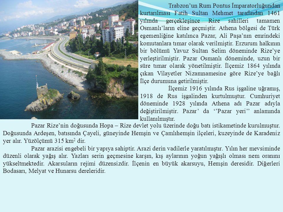 Trabzon'un Rum Pontus İmparatorluğundan kurtarılması Fatih Sultan Mehmet tarafından 1461 yılında gerçekleşince Rize sahilleri tamamen Osmanlı'ların eline geçmiştir.