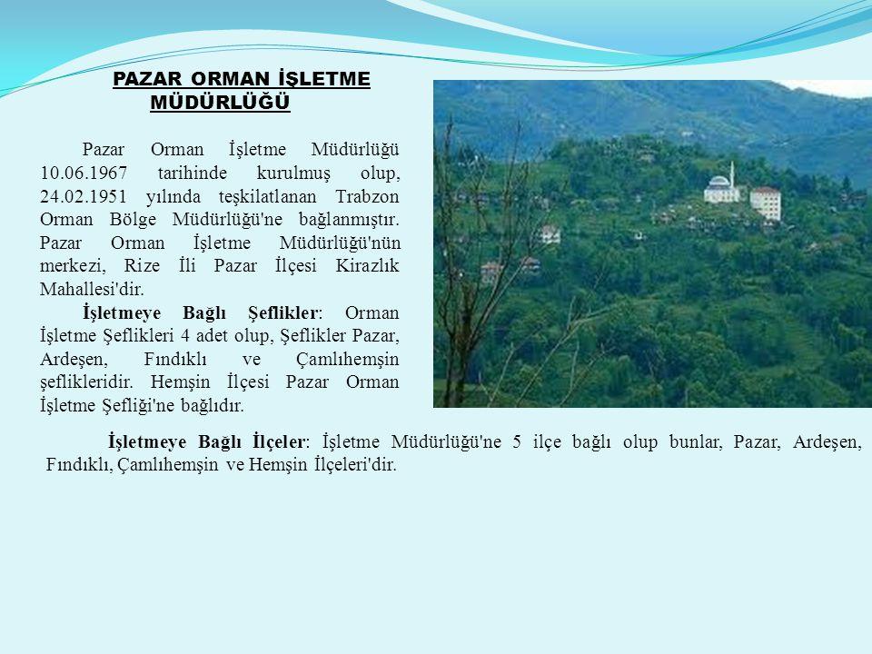 PAZAR ORMAN İŞLETME MÜDÜRLÜĞÜ Pazar Orman İşletme Müdürlüğü 10.06.1967 tarihinde kurulmuş olup, 24.02.1951 yılında teşkilatlanan Trabzon Orman Bölge Müdürlüğü ne bağlanmıştır.
