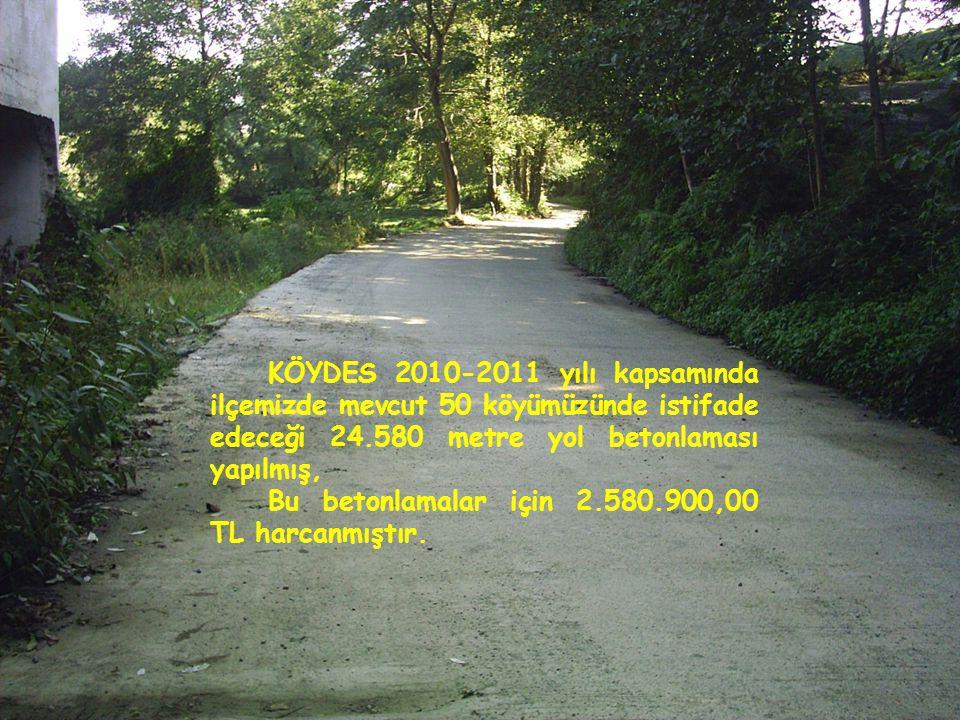 KÖYDES 2010-2011 yılı kapsamında ilçemizde mevcut 50 köyümüzünde istifade edeceği 24.580 metre yol betonlaması yapılmış, Bu betonlamalar için 2.580.900,00 TL harcanmıştır.