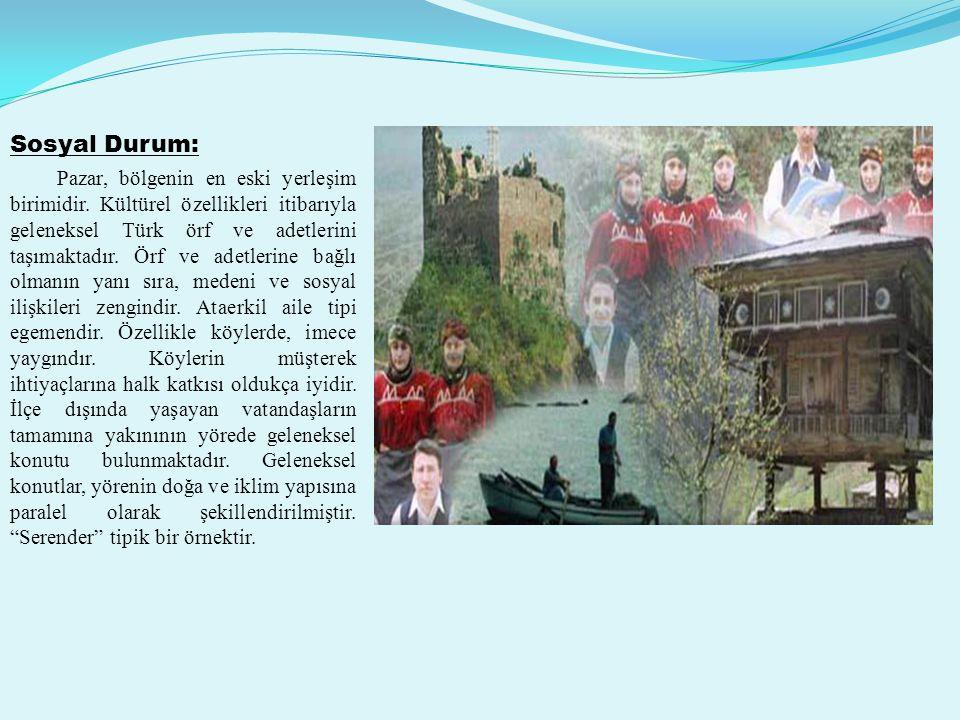 Sosyal Durum: Pazar, bölgenin en eski yerleşim birimidir.