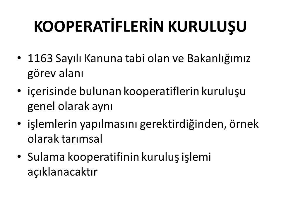 KOOPERATİFLERİN KURULUŞU 1163 Sayılı Kanuna tabi olan ve Bakanlığımız görev alanı içerisinde bulunan kooperatiflerin kuruluşu genel olarak aynı işleml