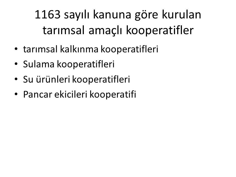 1163 sayılı kanuna göre kurulan tarımsal amaçlı kooperatifler tarımsal kalkınma kooperatifleri Sulama kooperatifleri Su ürünleri kooperatifleri Pancar