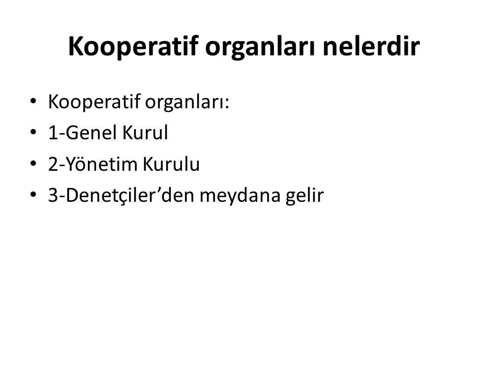 Kooperatif organları nelerdir Kooperatif organları: 1-Genel Kurul 2-Yönetim Kurulu 3-Denetçiler'den meydana gelir
