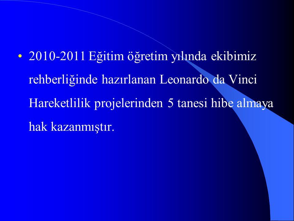 2010-2011 Eğitim öğretim yılında ekibimiz rehberliğinde hazırlanan Leonardo da Vinci Hareketlilik projelerinden 5 tanesi hibe almaya hak kazanmıştır.