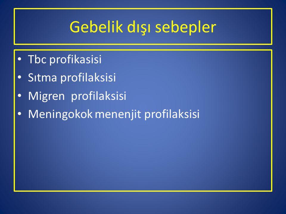 Gebelik dışı sebepler Tbc profikasisi Sıtma profilaksisi Migren profilaksisi Meningokok menenjit profilaksisi