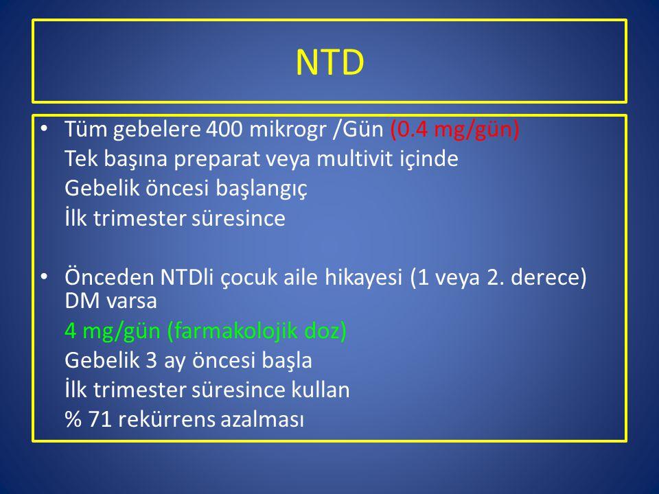 NTD Tüm gebelere 400 mikrogr /Gün (0.4 mg/gün) Tek başına preparat veya multivit içinde Gebelik öncesi başlangıç İlk trimester süresince Önceden NTDli