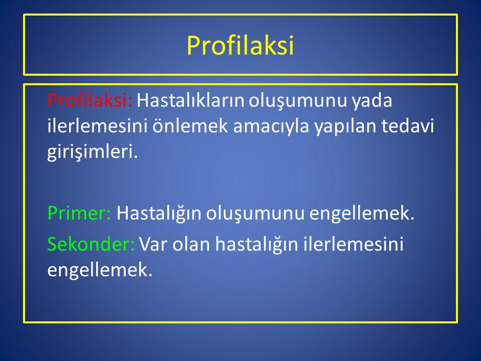 Profilaksi Profilaksi: Hastalıkların oluşumunu yada ilerlemesini önlemek amacıyla yapılan tedavi girişimleri. Primer: Hastalığın oluşumunu engellemek.