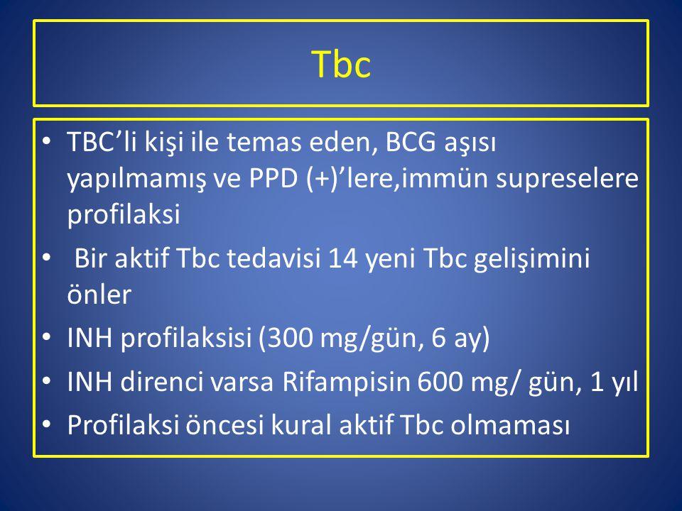 Tbc TBC'li kişi ile temas eden, BCG aşısı yapılmamış ve PPD (+)'lere,immün supreselere profilaksi Bir aktif Tbc tedavisi 14 yeni Tbc gelişimini önler